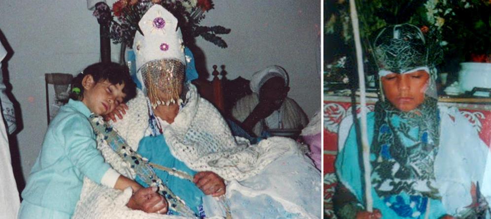 Paula ao lado da Nanã da Yamoro Maria e Péricles de Oxaguiã, década de 90 | Arquivo Axé Ilê Obá